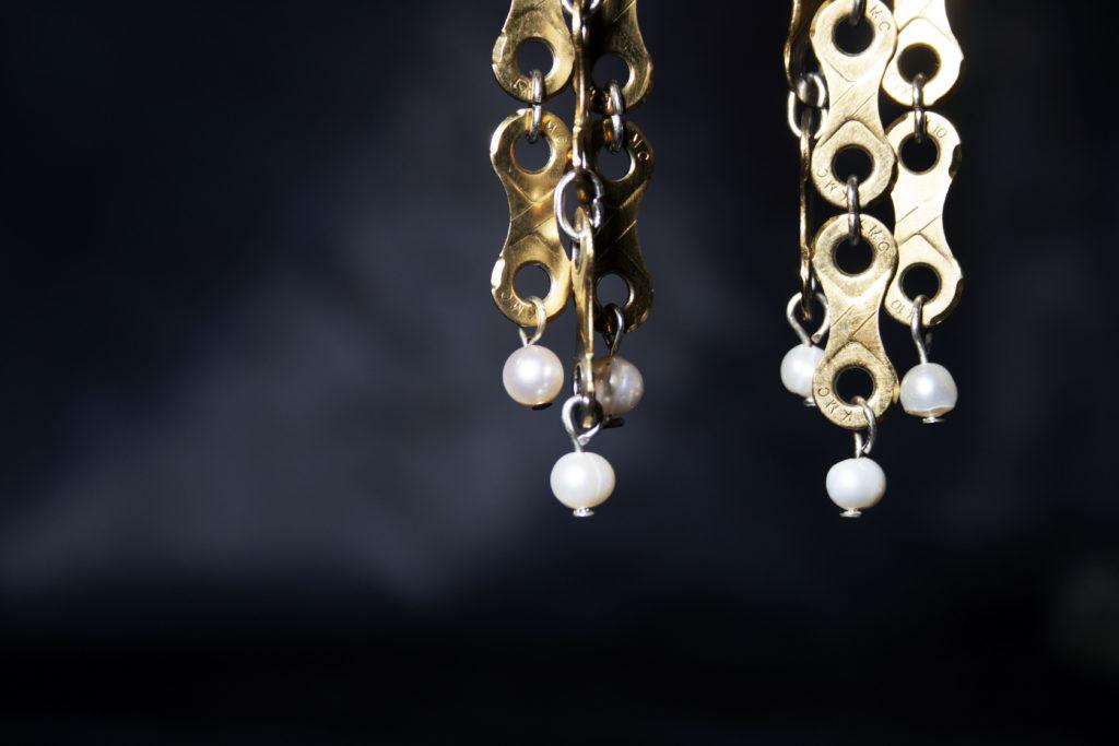 Gold bike chain earrings
