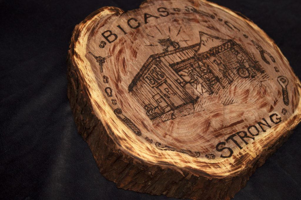 wood burning art piece